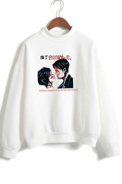 Sleeve Printed Couples Neck Long Letter Sweatshirt High X5wBv