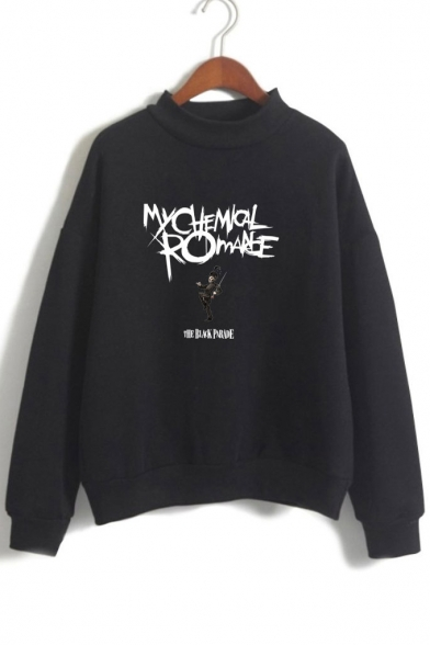 Letter Mock Printed Sleeve Long Character Sweatshirt Neck 4xqw1axv