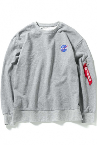 Pullover Sweatshirt Long Straps Printed Sleeve Embellished Neck Letter Graphic NASA Round v0nz7x