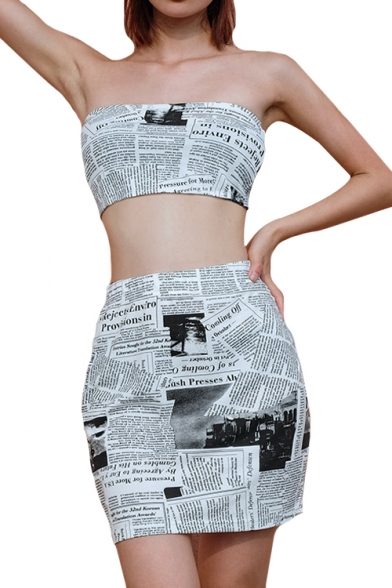 Newspaper Printed Crop Bandeau with High Waist Mini Bodycon Skirt Co-ords