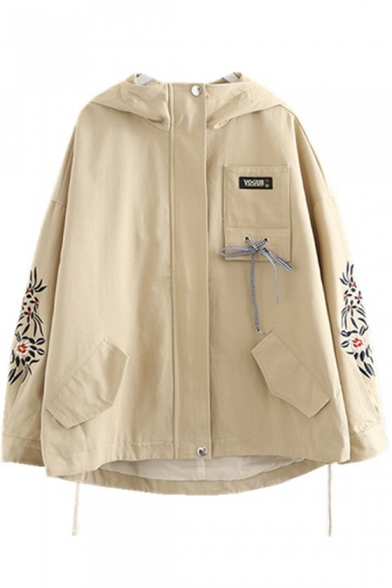 Zip Up Long Sleeve Floral Embroidered Loose Hooded Coat