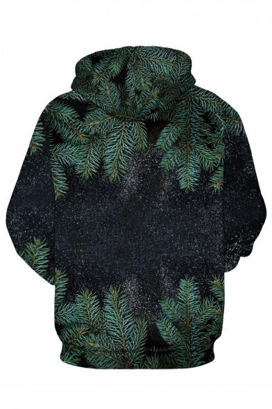 Printed Sleeve 3D Leaf Oversized Hoodie Long Unisex 545Rnqrw