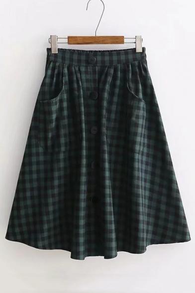 Button Front Elastic Waist Plaid Printed Midi A-Line Skirt