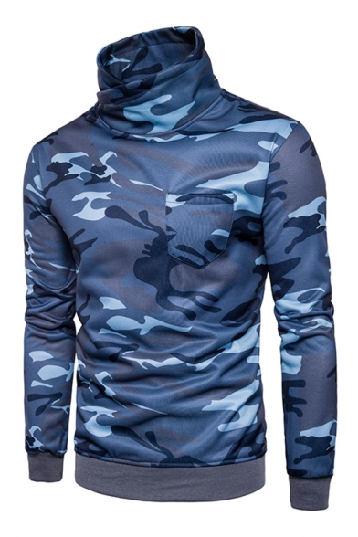 Camouflage Printed High Neck Long Sleeve Pullover Sweatshirt