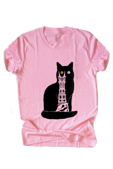 Neck Sleeve Shirt Cat Printed Building Short Cartoon Round T fqxgHTnqIw