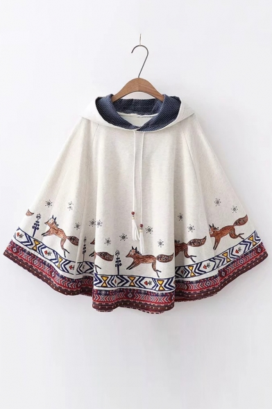 Hooded Cape Cartoon Leisure Loose Fox Printed wICIXq