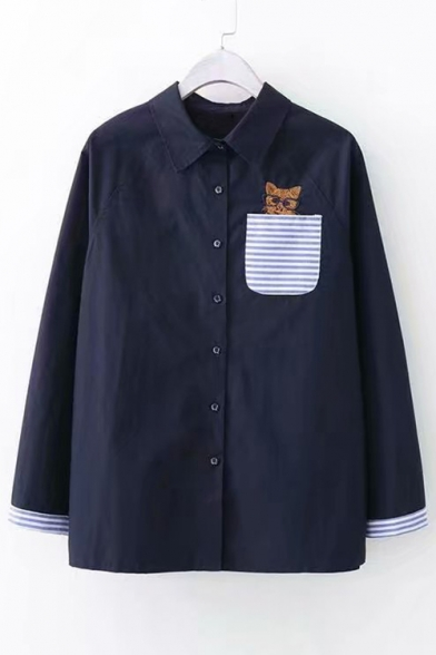 Button Cat Embroidered Sleeve Front Lapel Contrast Collar Striped Long Shirt Pocket 8BwPrUqx8