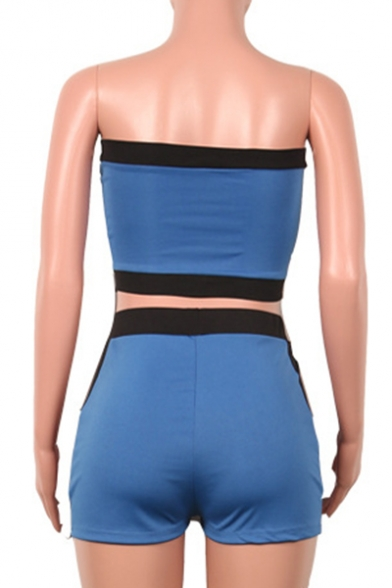 Color Block Letter Printed Strapless Sleeveless Crop Skinny Bandeau with High Waist Skinny Shorts Co-ords