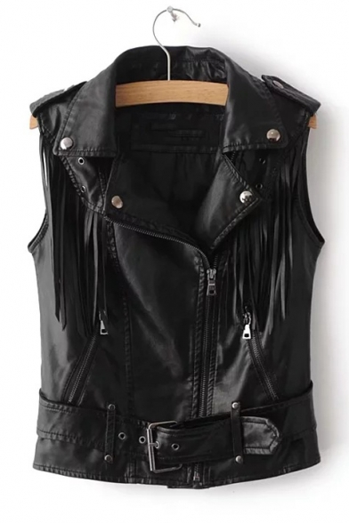 Cool Notched Up PU Tassel Embellished Sleeveless Zip Collar Lapel Vest FgwpFxqv1