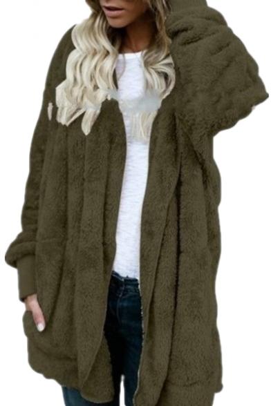 Faux Fur Plain Long Sleeve Open Front Warm Hooded Coat