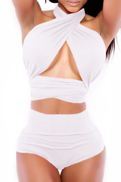 High Detail Sexy Waist Out with Hollow Bikini Halter Bottom Sleeveless Top Iq0xgPFw