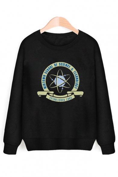 Round Pullover Letter Printed Neck Graphic Sleeve Sweatshirt Long EqfqBPw