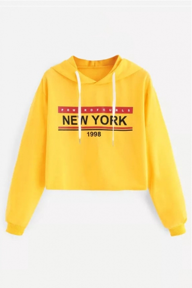 Letter Hoodie YORK NEW Crop 1998 Printed Long Sleeve Chic ROvFFEqwfS