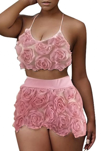 Crop Slim Waist Shorts Sleeveless Halter Embellished Floral Co Sexy High Cami ords with RIwqCOgn