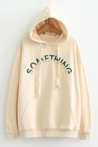 Embroidered Hoodie SOMETHING Long Letter Sleeve Casual A0qwarcSw5