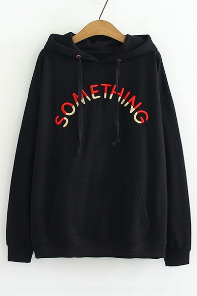 Sleeve Embroidered Letter Hoodie Long Leisure SOMETHING Loose 6Fxwxz
