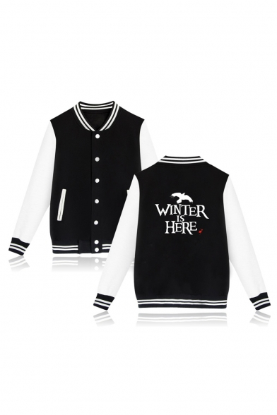 WINTER IS HERE Letter Animal Printed Color Block Contrast Striped Trim Button Front Baseball Jacket