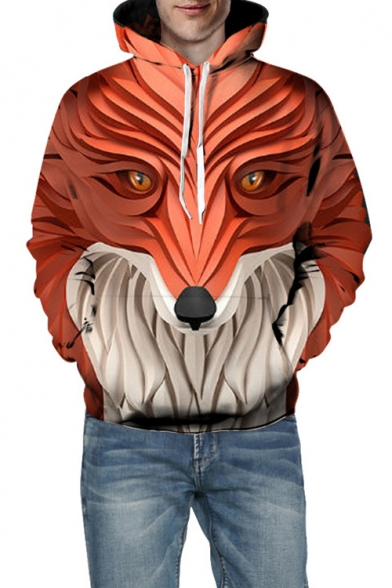3D Fox Print Long Sleeve Hoodie for Couple
