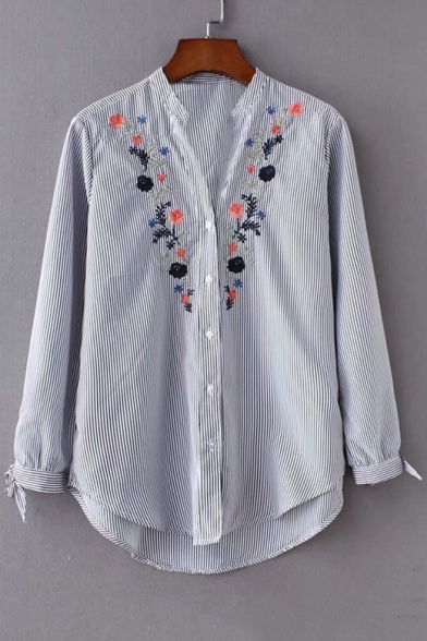 Baycheer / Floral Embroidered V Neck Striped Button Placket Long Sleeve Shirt