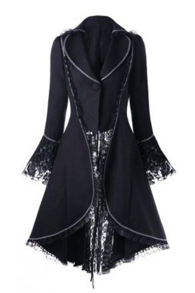 Lace Patchwork Lace Up Detail Long Sleeve Lapel Collar Single Button Front Tunic Coat