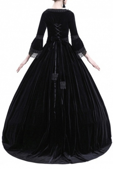 Vintage Square Neck Lace Patchwork 3/4 Length Sleeve Maxi A-Line Dress
