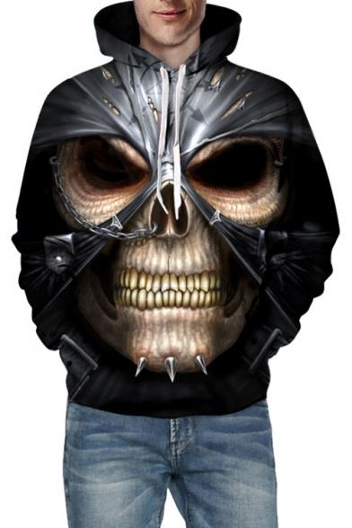 3D Skull Print Long Sleeve Unisex Hoodie