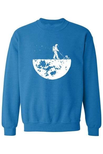 Astronaut Moon Print Round Neck Long Sleeve Sweatshirt