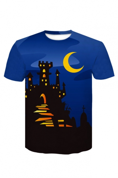 Cartoon Moon Castle Print Round Neck Short Sleeve T-Shirt, LC485962