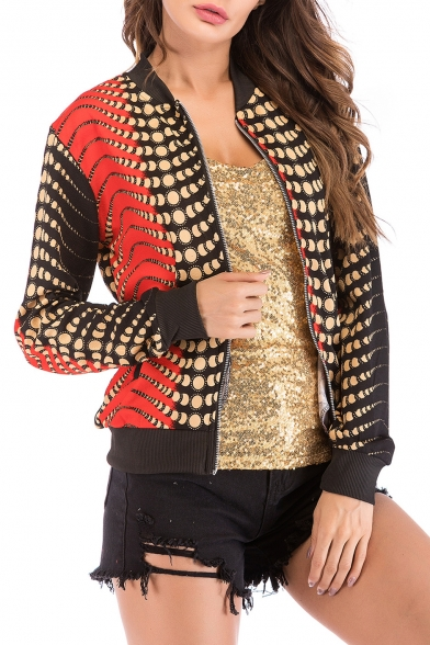 Stand Up Collar Long Sleeve Color Block Printed Zip Placket Jacket