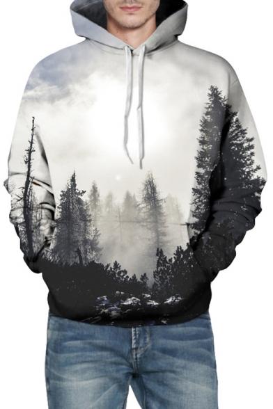 3D Forest Printed Long Sleeve Casual Hoodie