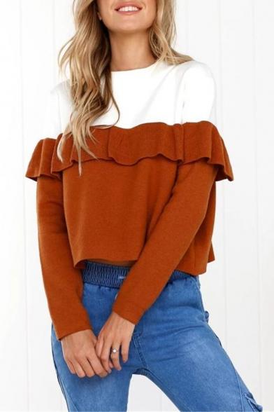 Color Block Ruffle Detail Round Neck Long Sleeve Cropped Sweatshirt