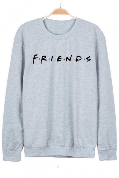 Colorful Dot FRIENDS Letter Printed Round Neck Long Sleeve Sweatshirt