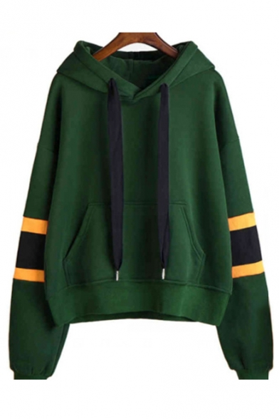 New Arrival Contrast Striped Long Sleeve Casual Hoodie