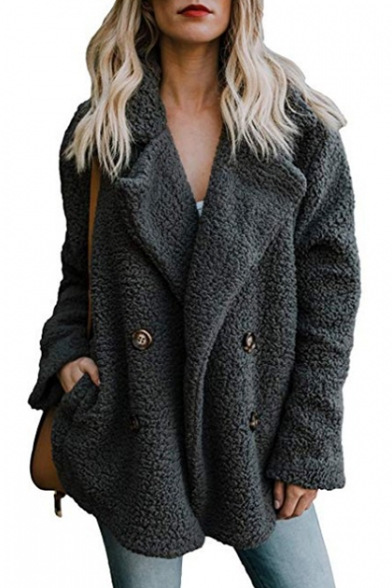 Notched Lapel Collar Long Sleeve Plain Double-Breasted Faux-Fur Coat