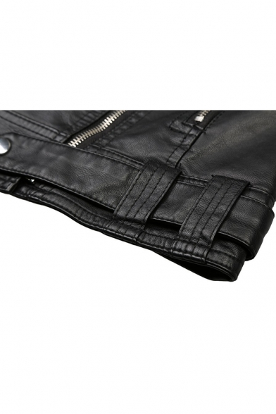 PU Lapel Collar Long Sleeve Plain Offset Zip Closure Leather Jacket