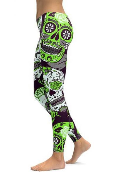 Купить со скидкой Skull Floral Print Elastic Waist Skinny Leggings