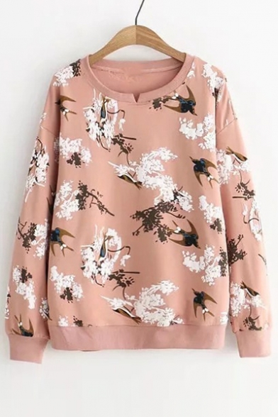 Swallow Floral Printed Round Neck Long Sleeve Sweatshirt