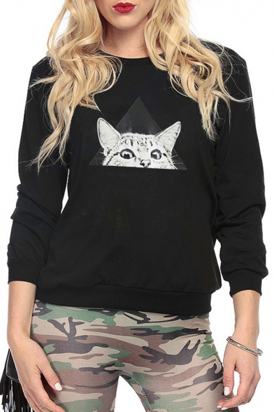 Triangle Cat Printed Round Neck Long Sleeve Sweatshirt