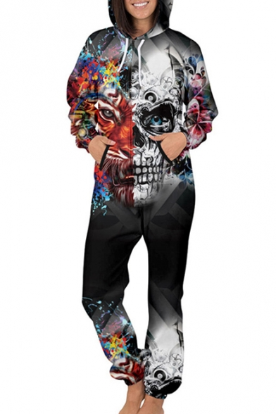 Image of 3D Skull Lion Printed Long Sleeve Loose Hooded Jumpsuit