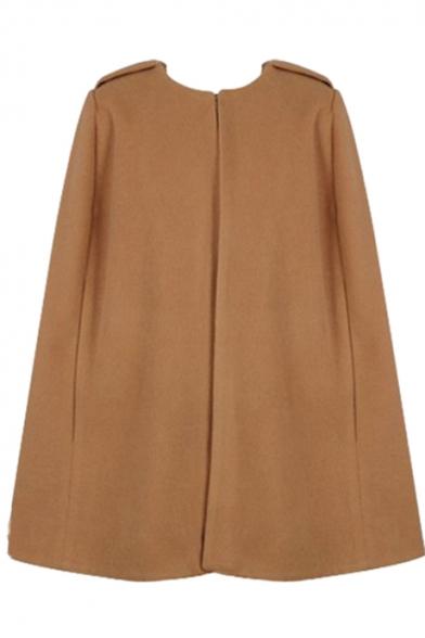 Collarless Plain Open Front Tunic Woolen Cape