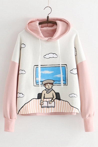 Color Block Cloud Character Embroidered Long Sleeve Hoodie