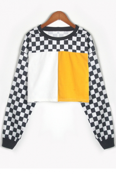 Color Block Contrast Plaid Round Neck Long Sleeve Cropped Sweatshirt