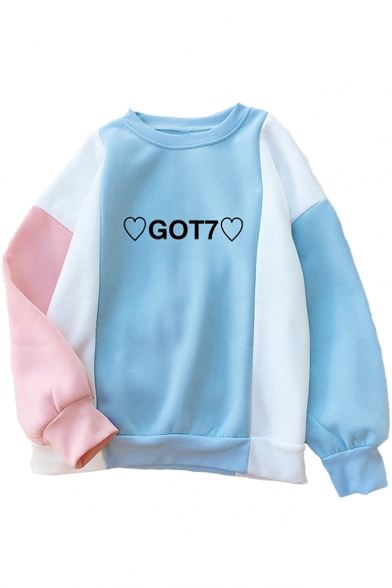 Color Block Letter Heart Print Round Neck Long Sleeve Sweatshirt