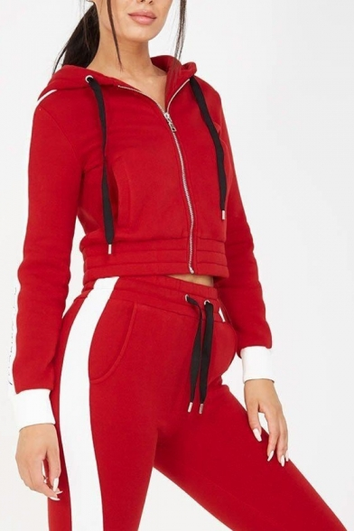 Color Block Letter Printed Long Sleeve Zip Up Cropped Hoodie with Slim Pants Sports Co-ords