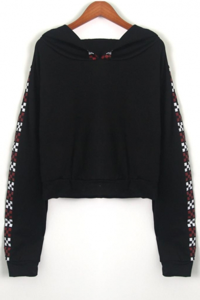 Contrast Plaid Straps Patch Long Sleeve Crop Hoodie