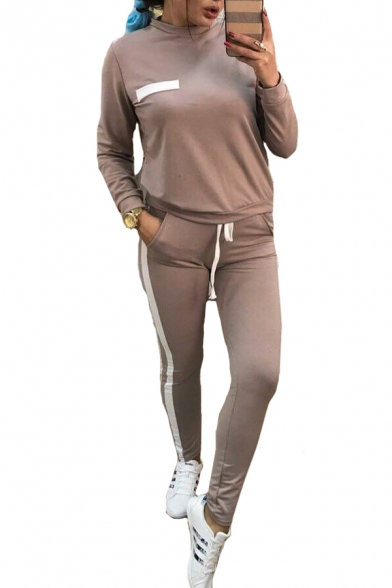 Contrast Trim Round Neck Long Sleeve Sweatshirt Drawstring Waist Slim Pants Co-ords