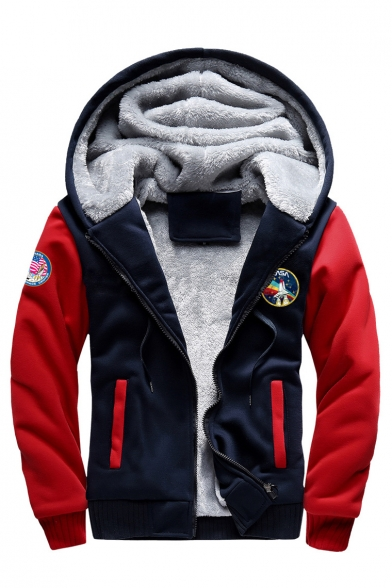 Faux Fur Lined Color Block NASA Graphic Printed Long Sleeve Zip Up Hooded Jacket