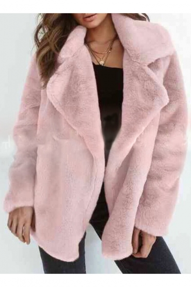 Faux Fur Notched Lapel Collar Plain Long Sleeve Open Front Winter Coat