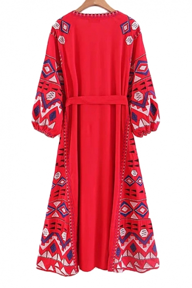Folk Style Geometric Embroidered V Neck Long Sleeve Tassel Embellished Tie Waist Maxi A-Line Dress