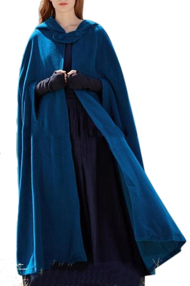 Plain Tunic Hooded Cape with Detachable Throat Guard